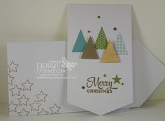"Happy Thoughts June 2015 Paper Pumpkin | Use the Banner Card as is and add the pennants as ""trees"" to make it a Christmas card. The sentiment is from the Lots Of Joy stamp set. Add Rhinestone Jewels in the background. Stars were stamped on the envelope"