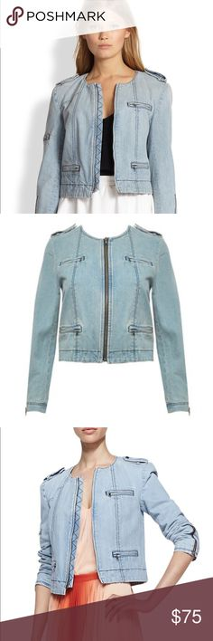 Alice  + Olivia Cam denim biker jacket S Size small. Worn a few times, in excellent condition. See my closet for more great deals on designer items. 15% off a bundle of three or more items.s Alice & Olivia Jackets & Coats Utility Jackets