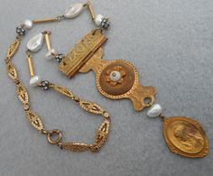 Religious Medal Salvage Necklace Assemblage Vintage by Vinchique, $98.00