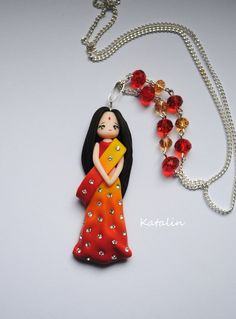 Hindu doll pomymer clay fimo necklace by KatalinHandmade Polymer Clay Figures, Cute Polymer Clay, Polymer Clay Dolls, Polymer Clay Miniatures, Polymer Clay Charms, Polymer Clay Creations, Polymer Clay Jewelry, Biscuit, Clay Figurine