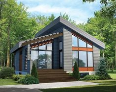 Modern Houses Discover Plan Contemporary Vacation Getaway Modern House Plan gives you one bed and just over 800 square feet of living space. Ready when you are. Where do YOU want to build? Contemporary Style Homes, Contemporary Cottage, Small Contemporary House Plans, Modern Modular Homes, Contemporary Design, Prefab Modular Homes, Modern Cottage, Small Prefab Cabins, Cozy Cottage