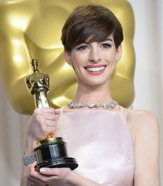 Anne Hathaway and an impressive Tiffany & Co diamond necklace, from the 2013 Blue Book Collection