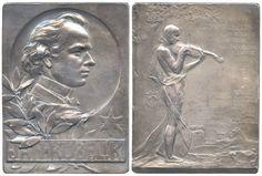Jan Kubelík (1880-1940), silvered bronze plaquette (1910), by Heinrich Kautsch (1859-1943).