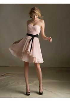 A-line Sweetheart Sleeveless Chiffon Homecoming Dress With Sashes/Ribbons #FM919
