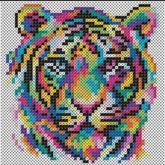 Perler® Beads Rainbow Tiger Beading Kit - Drawings - This fierce tiger& stripes take a psychedelic turn when created with colorful Perler beads! Perler Bead Designs, Perler Bead Templates, Hama Beads Design, Diy Perler Beads, Perler Bead Art, Melty Bead Designs, Pixel Art Templates, Melty Bead Patterns, Pearler Bead Patterns