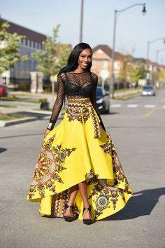 Yellow African print skirt  Royal Java skirt Dashiki  by RAHYMA