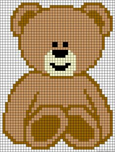 Teddy bear ironing beads template bear - Teddy perler bead pattern charts flower Always aspired to be able to . Crochet Pixel, C2c Crochet, Crochet Teddy, Manta Crochet, Tapestry Crochet, Crochet Chart, Crochet Baby, Cross Stitch Baby, Cross Stitch Animals
