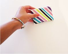 Scotch Duct Tape Striped Wallet Inspired by Kate Spade via VivaFashionBlog.com  #ScotchStyle #DuctTape #DIY