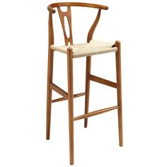 Hans Wegner Wishbone Style Bar Stool in Walnut