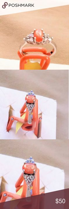 Ring - Size 7 Sunstone, White Topaz, in Platnum overlay Sterling Silver Nickel free Jewelry Rings
