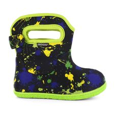 The Baby Bogs Paint by Bogs Footwear. Now the littlest Bogs® fans have their own Baby Boot. 100% Waterproof and constructed with 3mm Neo-Tech™ insulation with a plush lining to keep tiny toes dry and cozy. Machine washable and  easy pull-on handles make this ideal first shoe for the future Bogs adventurer. 100% satisfaction guaranteed.