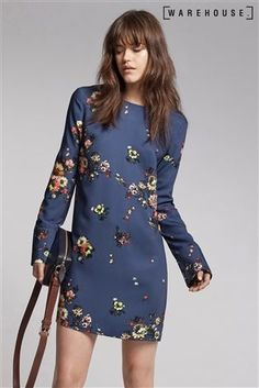 Buy Warehouse Navy Painted Floral Shift Dress from the Next UK online shop Latest Fashion For Women, Evening Dresses, Cold Shoulder Dress, Bridesmaid Dresses, Blouse, Uk Online, Warehouse, Shopping, Tops