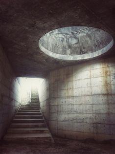 Weird passageway with unsettling lighting