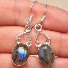 """Labradorite Dangle Earrings,  1 3/4,"""" NIB 925 Sterling Silver Over Solid Copper Jewelry Earrings"""