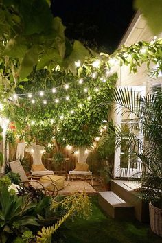 Believe it or not, the owners of the Tiny Canal Cottage got married on the stoop of their Venice Beach home with 60 (!) people in attendance. Of course the equally tiny backyard helped squeeze everybody in. Steal their string light trick to make your smal Small Garden Design, Tiny House Design, Patio Design, Cottage Design, Exterior Design, Small Gardens, Outdoor Gardens, Small Courtyard Gardens, Modern Gardens