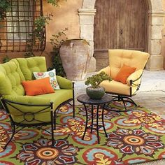Talavera Tile Outdoor Rug from Grandinroad.com