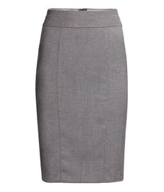 Description  Knee-length pencil skirt in woven stretch fabric. Slightly wider waistband with decorative seams. Slit and concealed zip at back. Lined. Details  63% polyester, 3% spandex, 34% rayon. Machine wash cold  Imported