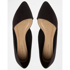 New Look Jingy Black Asymmetric Pointed Flat Shoes ($16) ❤ liked on Polyvore