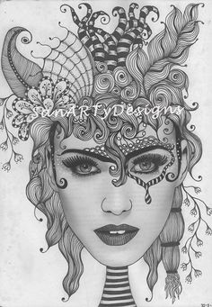My first face zentangle, doodled on top of a black and white photo from a magazine.
