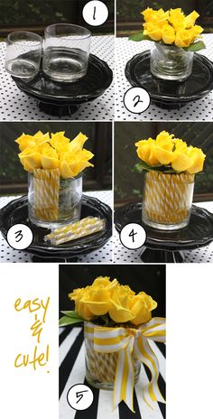 DIY Centerpieces: 1. Select two cylindrical vases (one a bit smaller than the other). 2. Place roses (or flowers of your choice) in the smaller vase filled with water. 3. Place hard candy sticks (you can find a wide assortment of colors of these hard candies) vertically in the space between the vases. 4. Fill it all the way up! 5. Tie a big pretty bow and you're all set!
