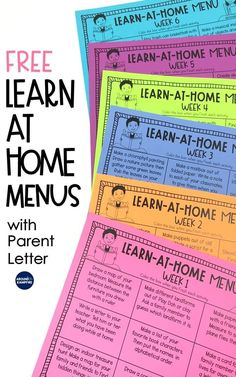 Free at-home learning menu activities by grade level. Get six weeks of learn at home menus with activities that don't require devices, plus a send-home parent letter. Available in versions for first grade, 2nd grade, and 3rd grade students that are ideal for distance learning, summer review, or homework during the school year.