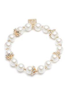 Anne Klein  Gold-Tone Anne Klein Pearl Stretch Bracelet