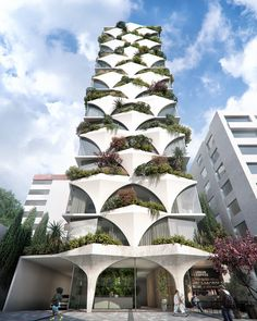 ODD architects designs sunflower-inspired tower with arched facades and 'mini forests' - Architecture - Architecture Design, Green Architecture, Facade Design, Concept Architecture, Futuristic Architecture, Sustainable Architecture, Residential Architecture, Amazing Architecture, Contemporary Architecture