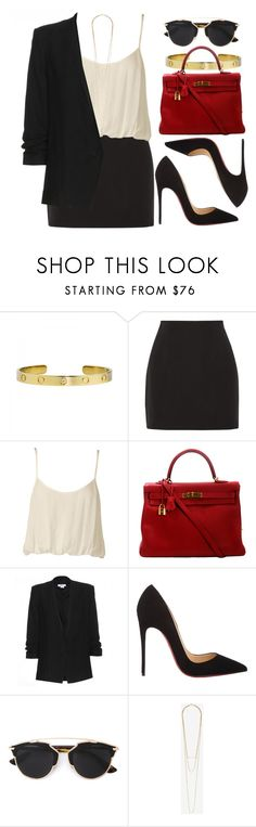 """""""Sin título #13282"""" by vany-alvarado ❤ liked on Polyvore featuring Cartier, Elizabeth and James, Nookie, Hermès, Helmut Lang, Christian Louboutin, Christian Dior and Jennifer Zeuner"""