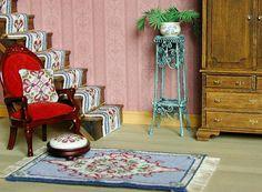 KIT dollhouse miniatures needlepoint, petit point dollhouse kit carpet 'Sophie' 1:12 doll house rugs – 5.25  x 3.5 ins, 18 count canvas