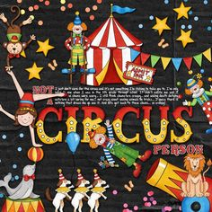 Big Top circus collection   digital scrapbook layout from Kate Hadfield Designs creative team member Rebecca