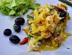 Bacalhau à Assis Bacalhau Recipes, Portuguese Recipes, Portuguese Food, Cod Fish, Yams, Fish And Seafood, Carne, Main Dishes, Spicy