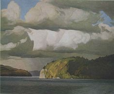 A J Casson . October Storm Clouds, 1974 (Group of Seven) Canadian Painters, Canadian Artists, Landscape Art, Landscape Paintings, Landscapes, Emily Carr Paintings, Group Of Seven Art, Sky And Clouds, Storm Clouds