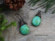 Turquoise Picasso Copper Earrings Wire Wrapped Czech Glass