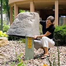 hide an electrical box landscaping - Google Search. Need this rock & some shrubs/flowers