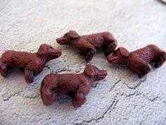 10 Tiny Red Dauchshund Beads by TheCraftyBead on Etsy, $9.95