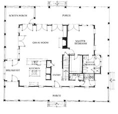 Allison Ramsey Architects | Floorplan for Bay Point Cottage - 2381 sqaure foot house plan # C0058