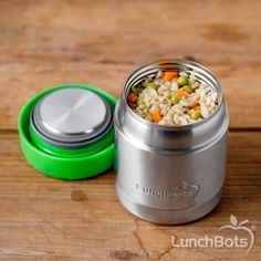 1 EA LUNCHBOTS Thermal Insulated 8Oz Container Gry Lid