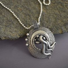 Strange Domed Chthulu Silver Pendant with tentacles, textured metal bead ball chain - Materials: pmc, metal clay, sterling silver, bead ball chain $218.00