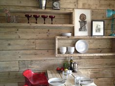 This is a wall of wood, box shelves and a table made from scaffold board Home Comforts, Interior Cladding, Wooden Walls, New Kitchen, Wall Cladding, Home Decor, House Interior, Scaffolding Wood, Wooden Wall Cladding