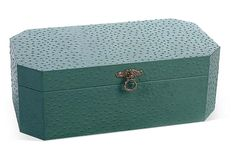 One Kings Lane - Ride High - 18x10 Leather Box, Turquoise