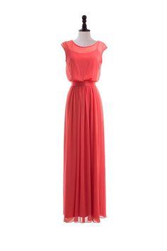 Sheer Cap Sleeve Chiffon Dress