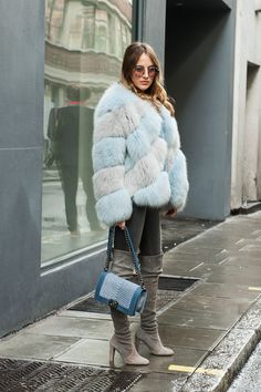 Furry jacket and over the knee boots