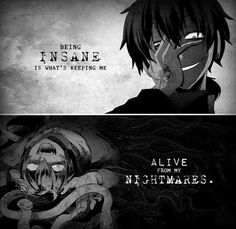 """Being insane is what's keeping me alive from my nightmares."" Anime: MekakuCity…"