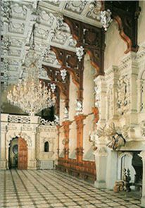 The Great Hall at Harlaxton Manor in Lincolnshire, England. A mix of Jacobean and Elizabethan styles it has been the location of many films including The Haunting