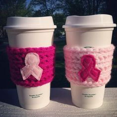 Breast Cancer Crochet Cup Cozy