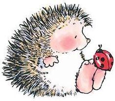 Porcupine with ladybug on toes