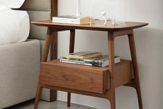 BILOT BY PORADA This elegant contemporary bedside table has a solid walnut wood . BILOT BY PORADA This elegant contemporary bedside table has a solid walnut wood frame and one useful drawer. Bedroom Furniture Design, Home Decor Bedroom, Home Furniture, Living Room Decor, Furniture Buyers, Interior Design Kitchen, Interior Design Living Room, Curtain Designs For Bedroom, Furniture Styles
