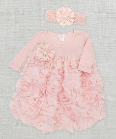 Blush Floral Dress & Headband - Infant by Truffles Ruffles #zulily #zulilyfinds
