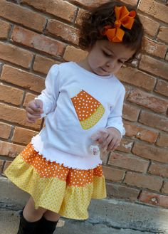 Sugar Thumb - Debbie Stevens - Etsy.com Candy Corn Applique Shirt and Twirl Skirt. $35.00