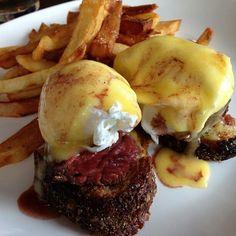 Hanger steak eggs benedict.